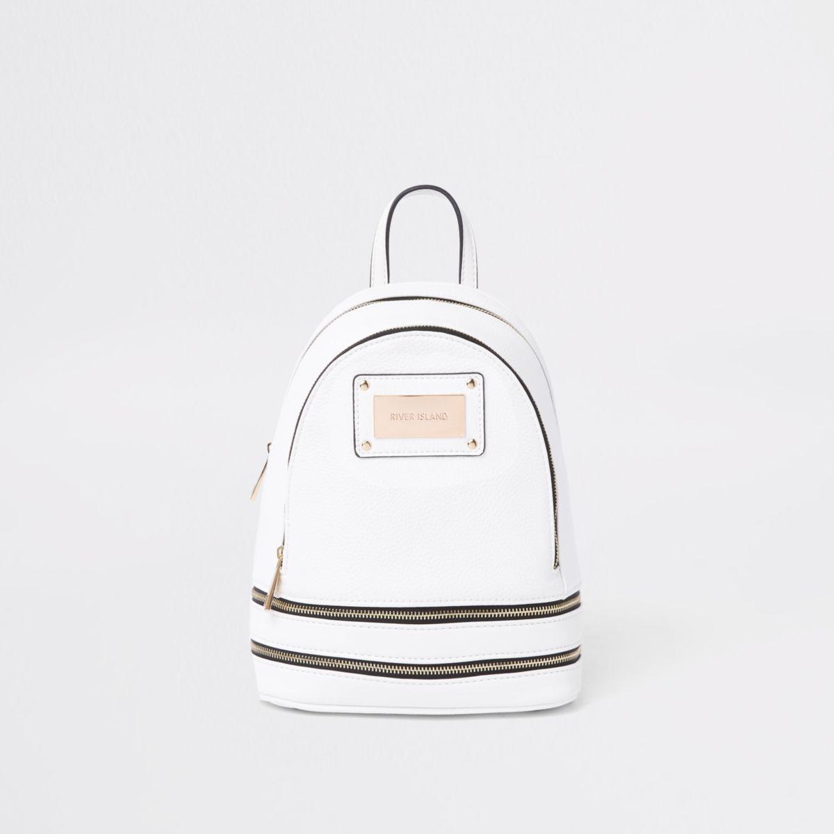 White zip around mini backpack