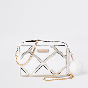 White cutabout metallic boxy crossbody bag