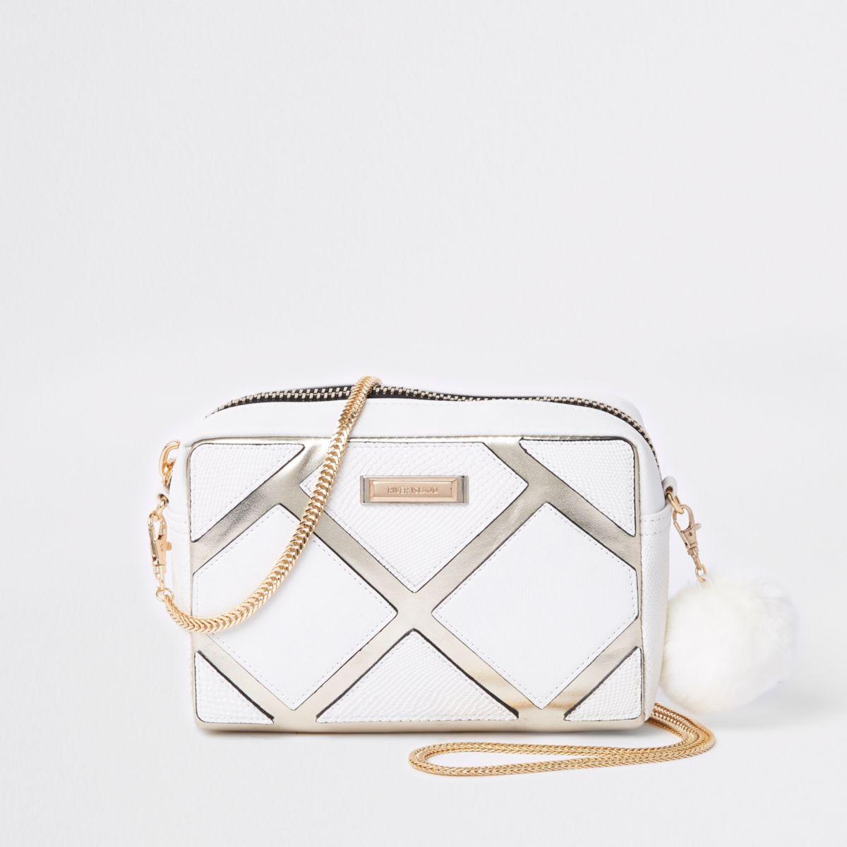 White cutabout metallic boxy crossbody bag