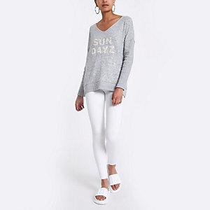 Grijze 'Sun dayz' slanke jumper