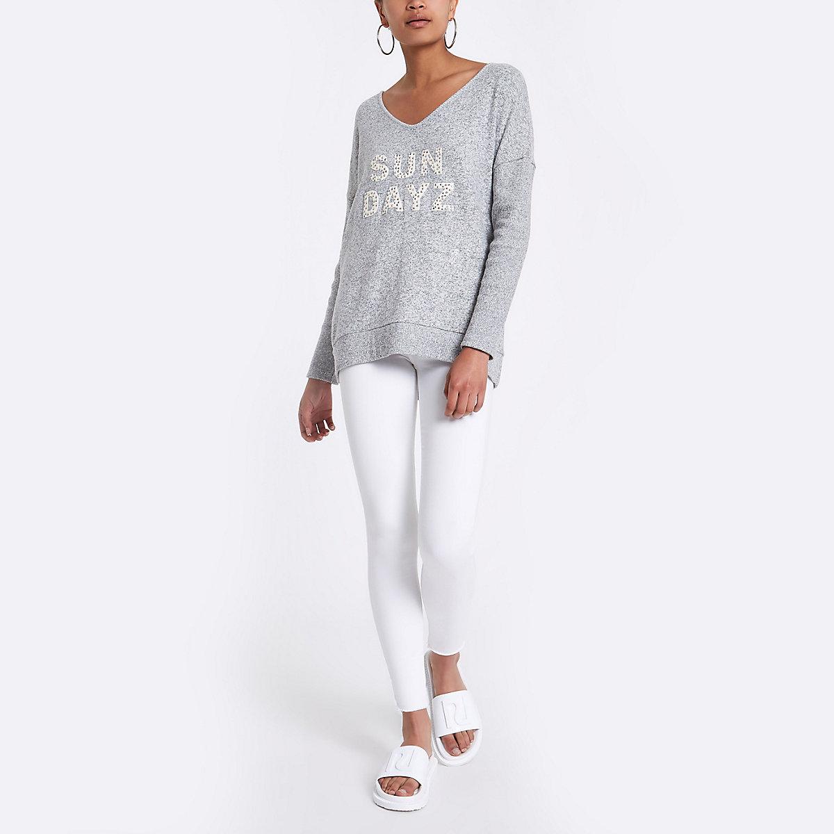 Grey 'Sun dayz' slouch jumper