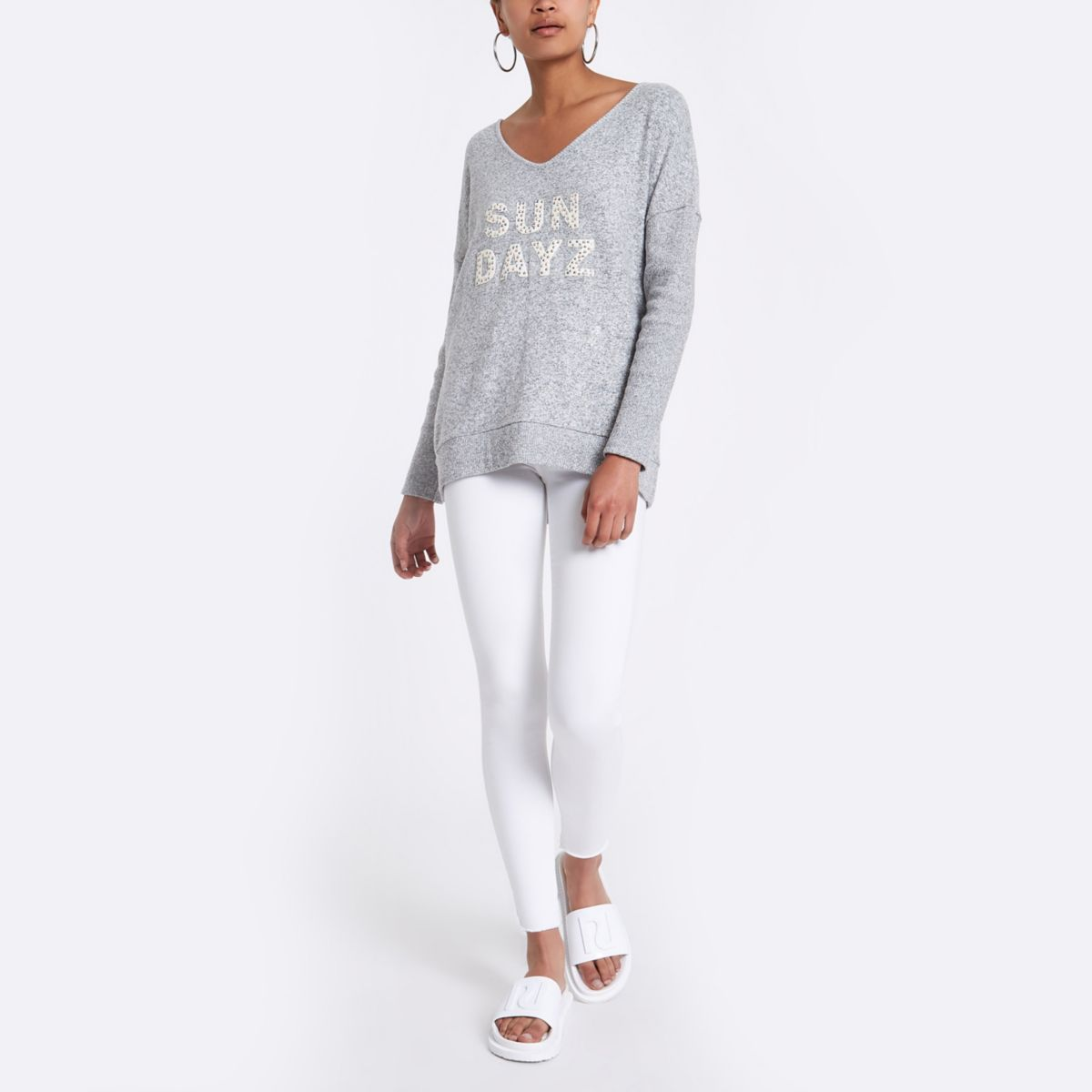 Grey 'Sun dayz' slouch sweater