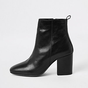 Black wide fit leather ankle boots