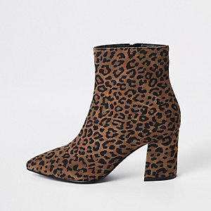 Brown wide fit leopard print ankle boots