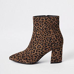 Bottines imprimé léopard marron coupe large