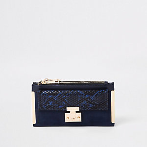 Navy lock pocket front foldout purse