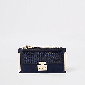 Portefeuille à rabat bleu marine avec poche avant