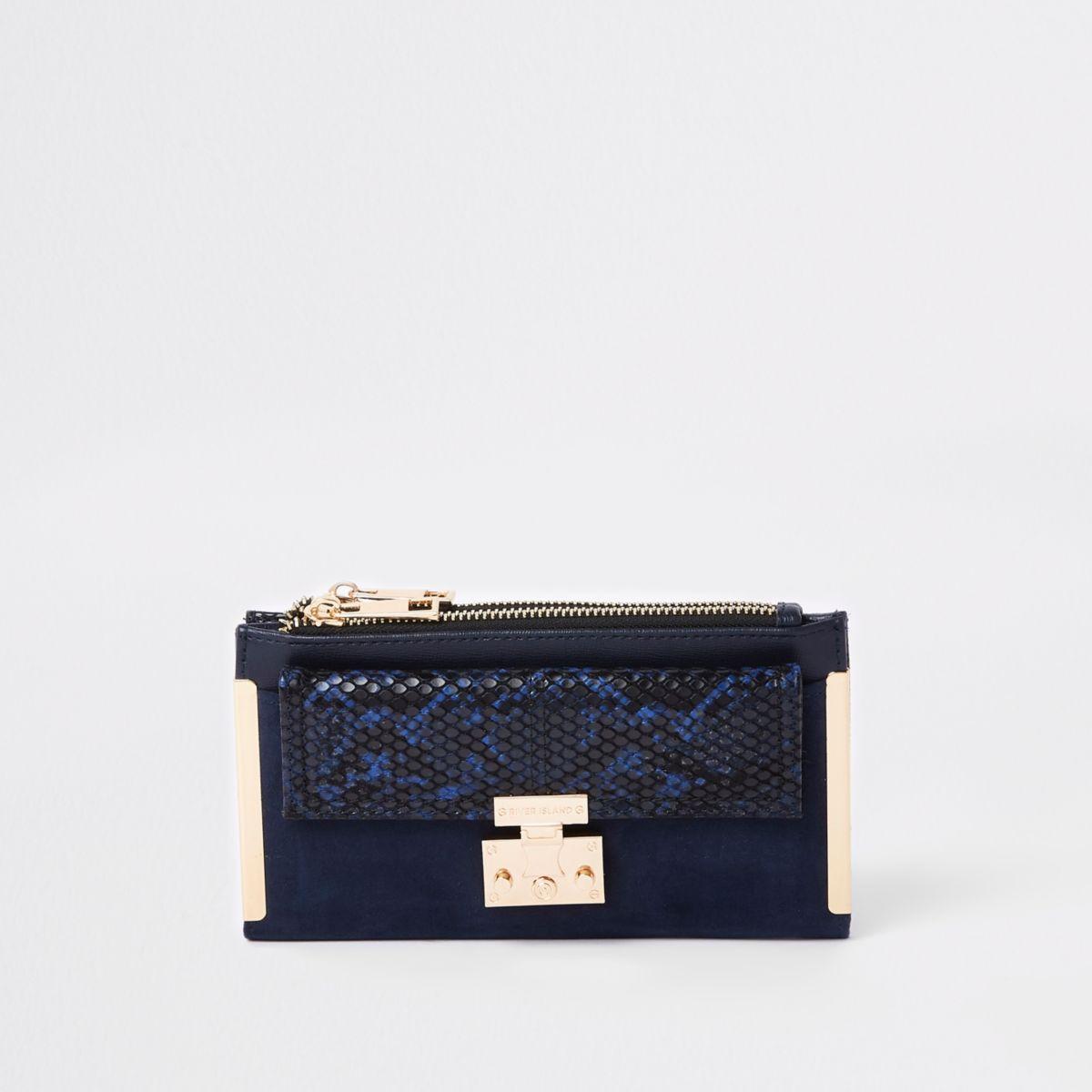 Navy lock pocket front foldout purse