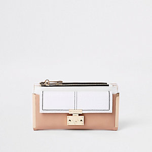 White lock pocket front foldout purse