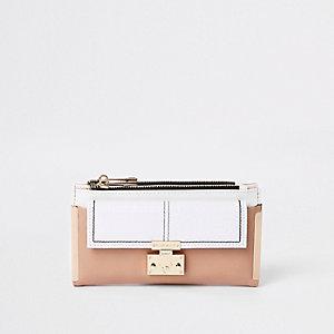 Portefeuille à rabat blanc avec poche avant