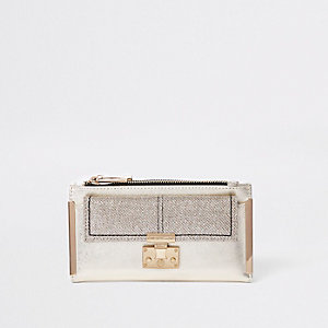 Gold glitter lock pocket front foldout purse