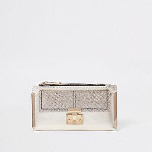 Portefeuille à rabat doré pailleté avec poche avant