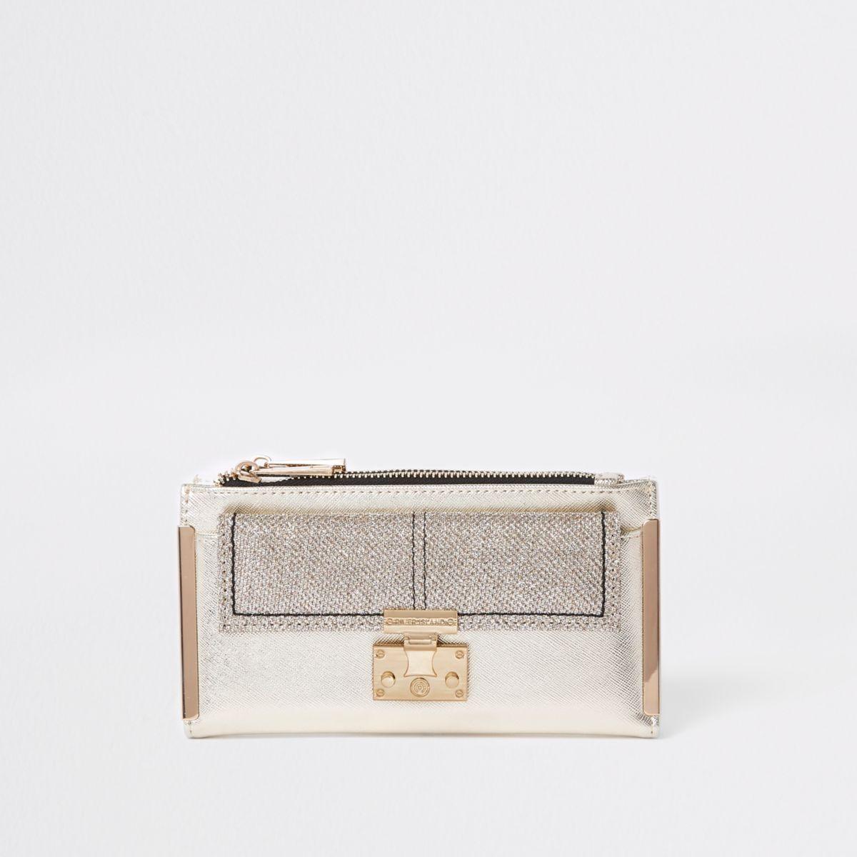 Gold glitter lock pocket front foldout purse