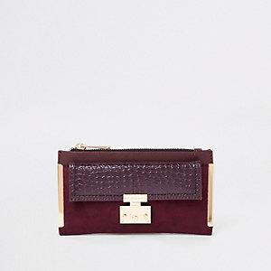 Donkerrode uitvouwbare portemonnee met vakje en slot