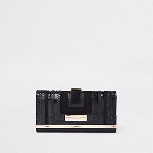 Porte-monnaie carré noir à découpes et fermoir clip