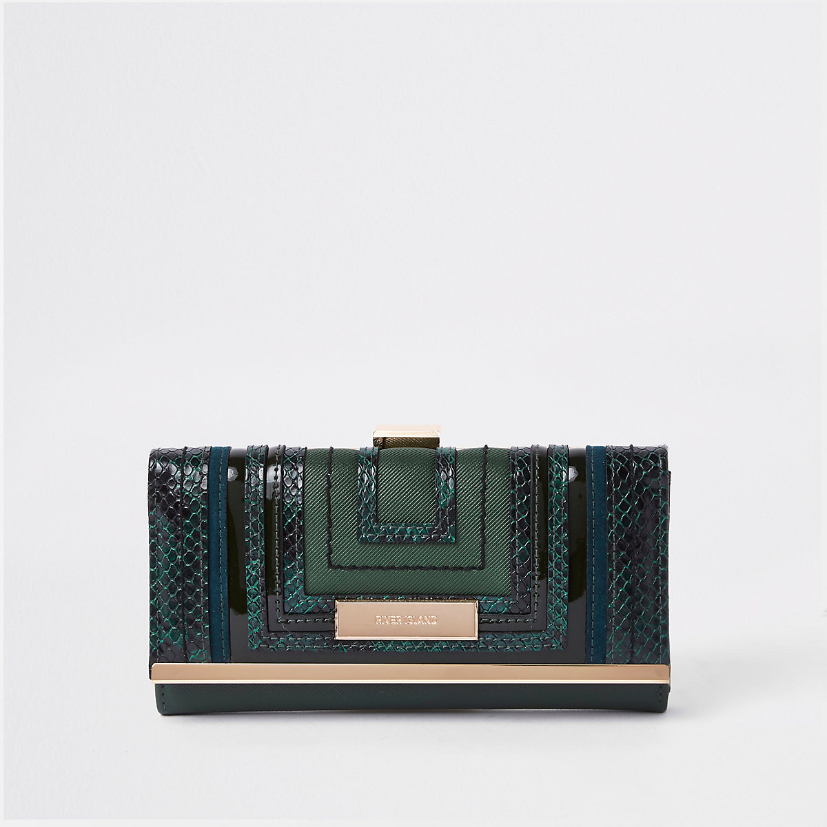 Green cutabout panel clip top purse