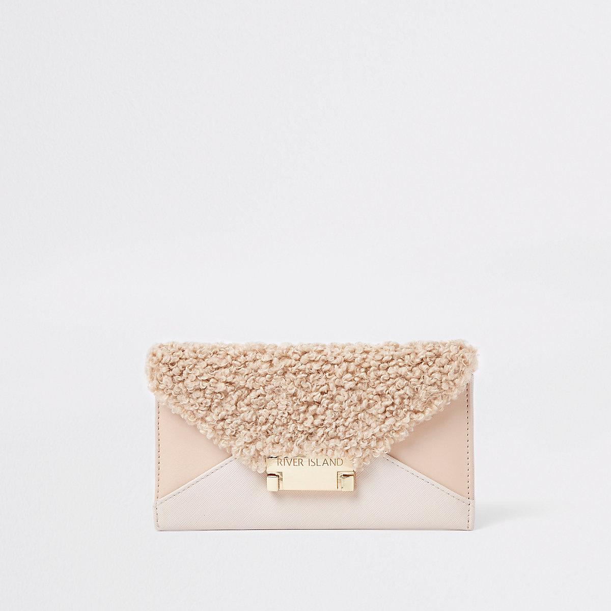 Beige envelope faux leather purse