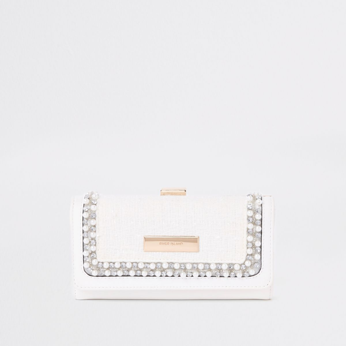 White jewel embellished clip top purse