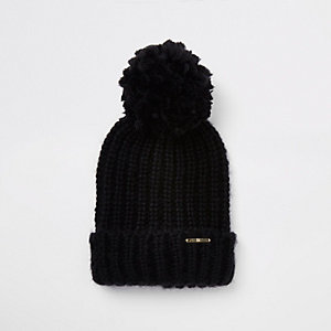Black pom pom bobble top knit beanie hat