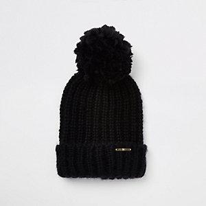 Black pom pom bobble top knit beanie hat