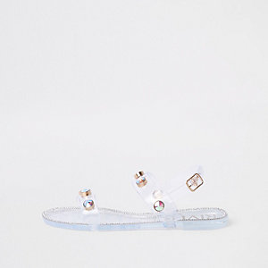 White jewel stud jelly sandals