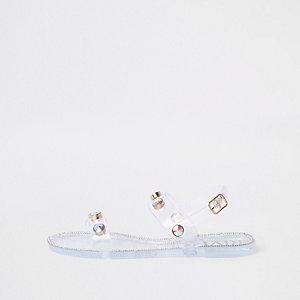 Weiße, strassverzierte Jelly-Sandalen