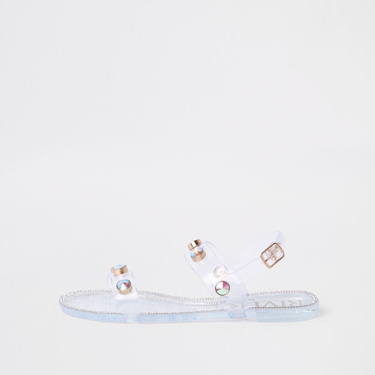 White jewel stud jelly sandals