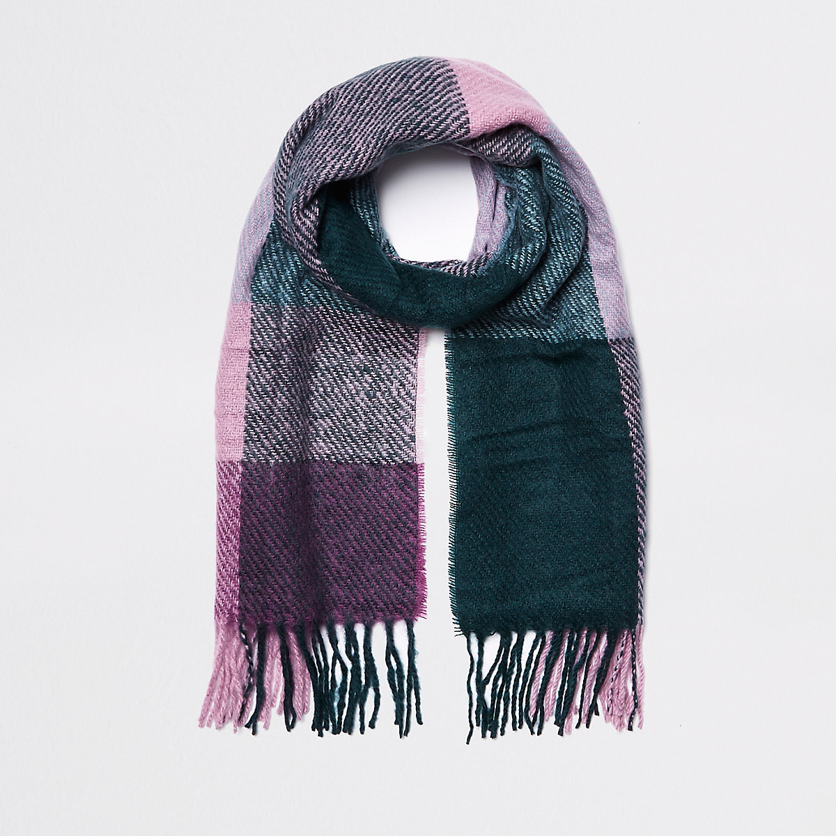 Dark green check scarf
