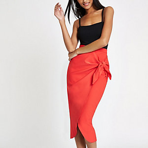Red tie front pencil skirt