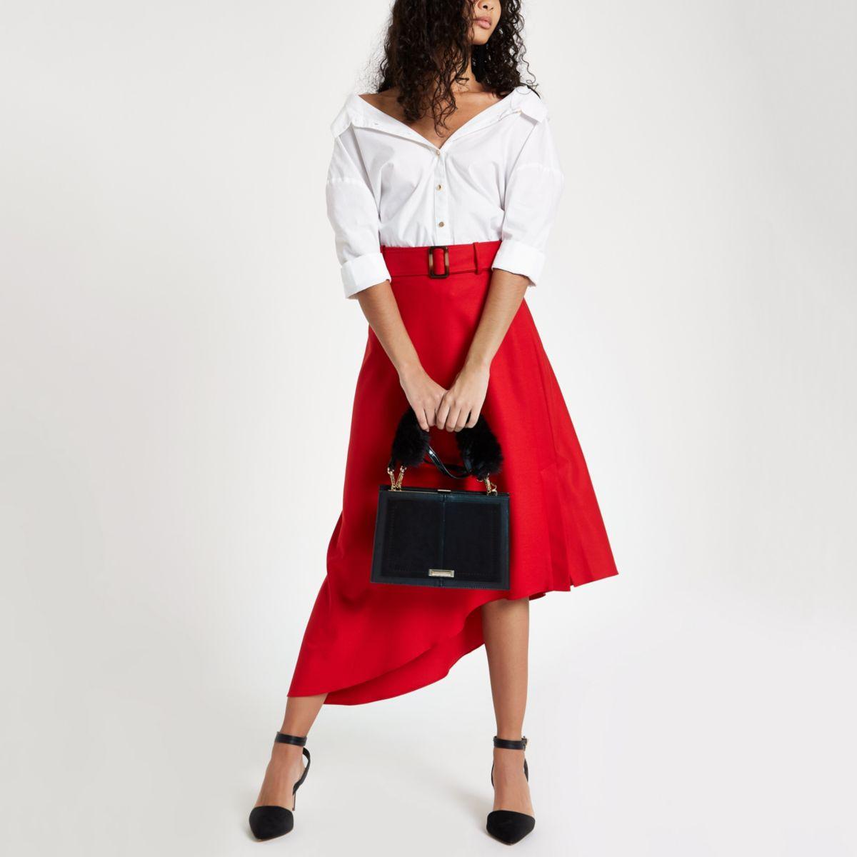 Red asymmetric midi belted skirt
