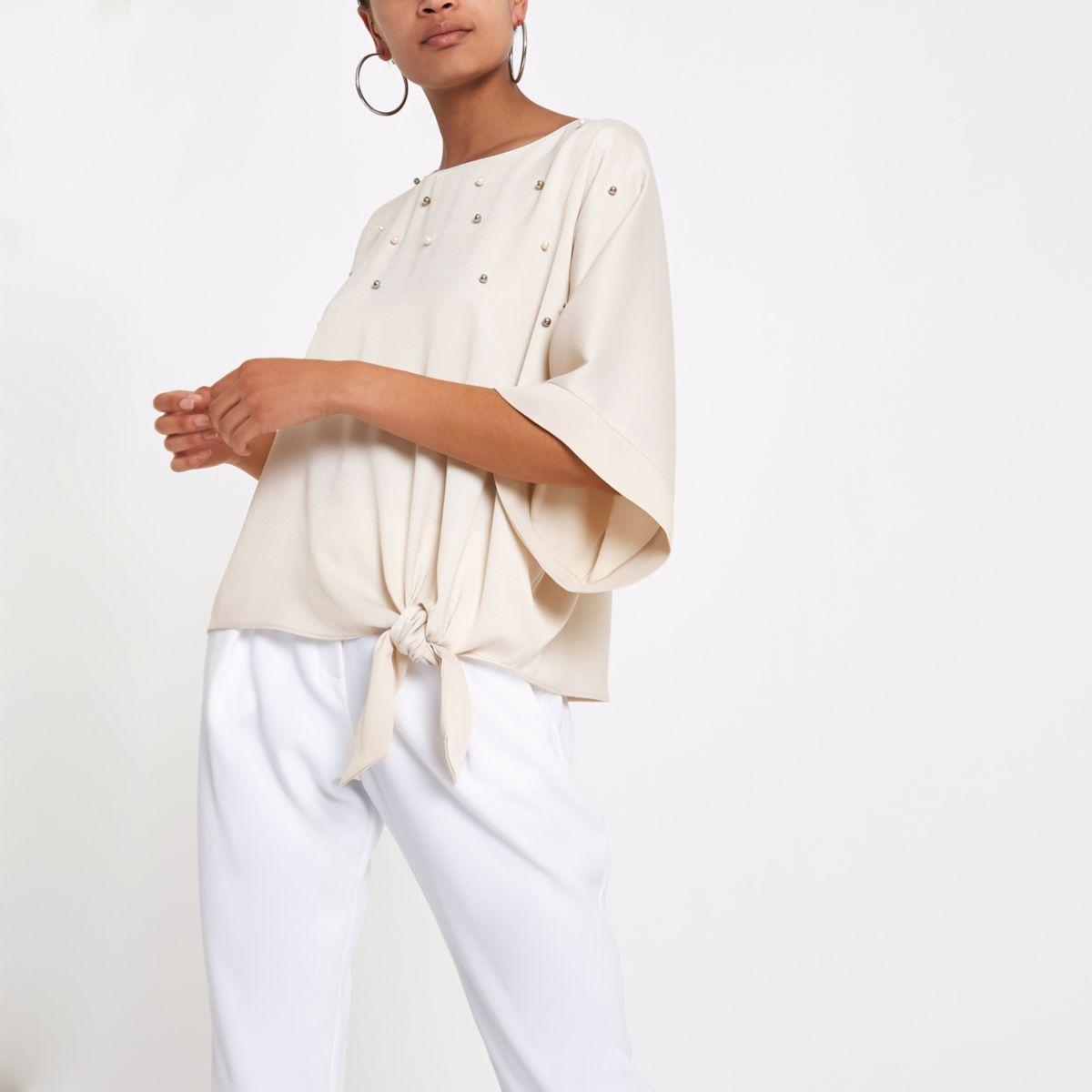 Beige pearl embellished knot side T-shirt