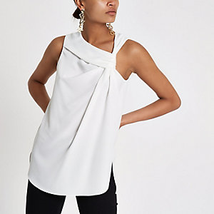 White knot front sleeveless top