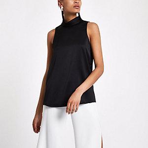 Black sleeveless roll neck top