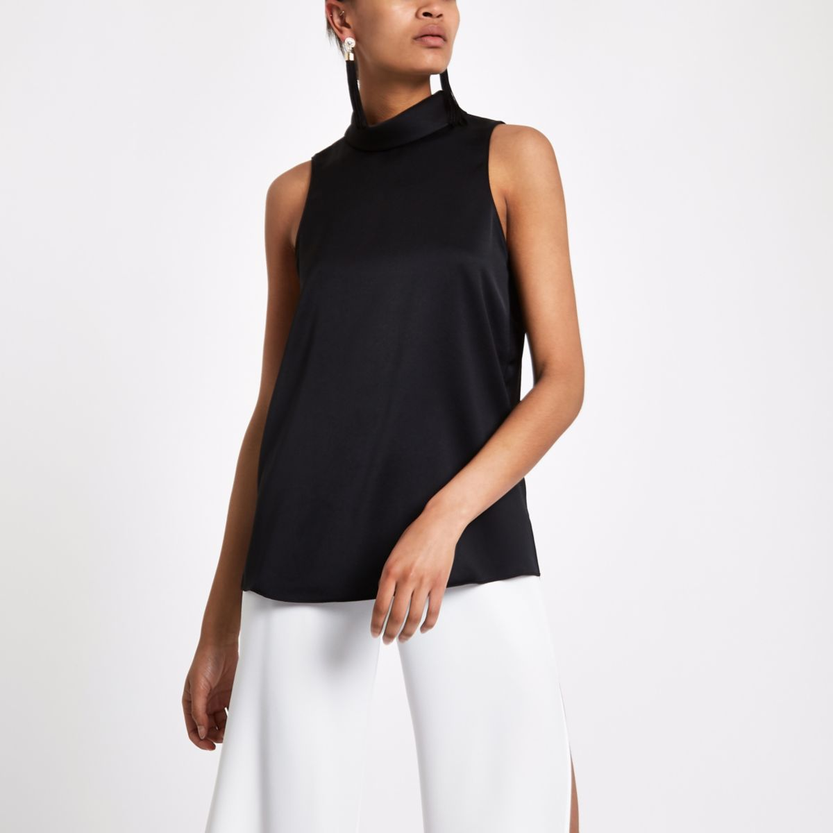 Black sleeveless roll neck top