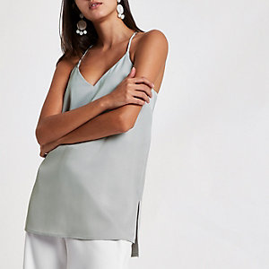 Grey racer back satin top