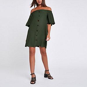 Robe trapèze Bardot kaki boutonnée devant