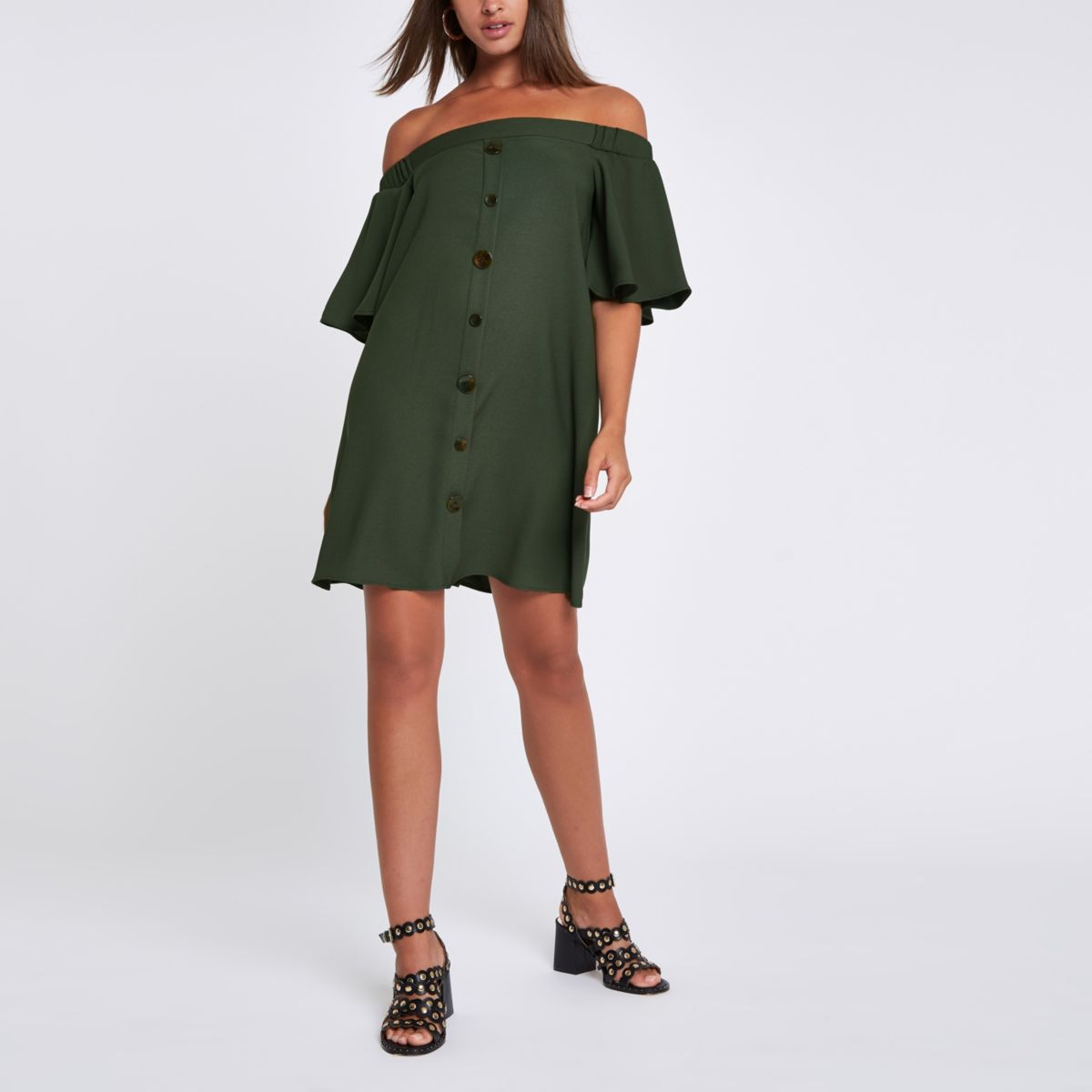 Khaki button front bardot swing dress