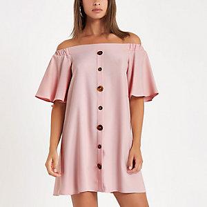 Pink button front bardot swing dress