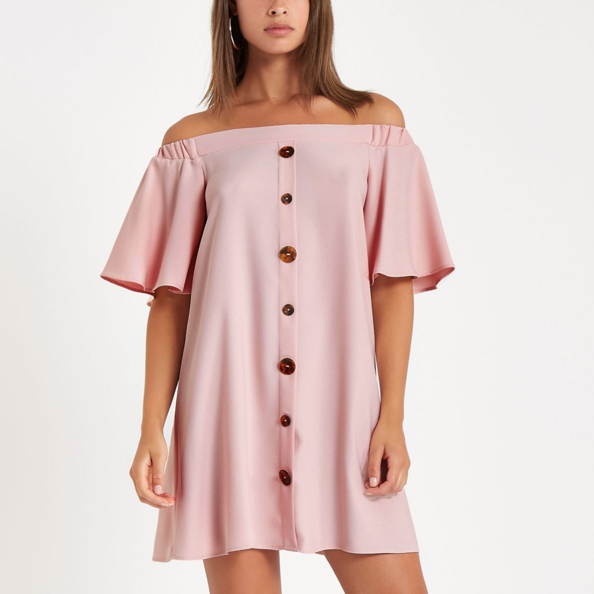 Pink button front bardot swing dress