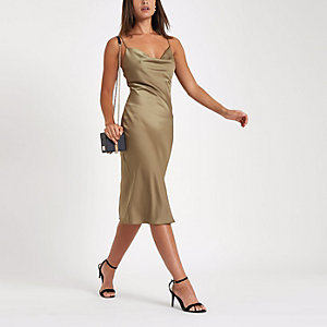 Khaki satin cowl neck slip dress