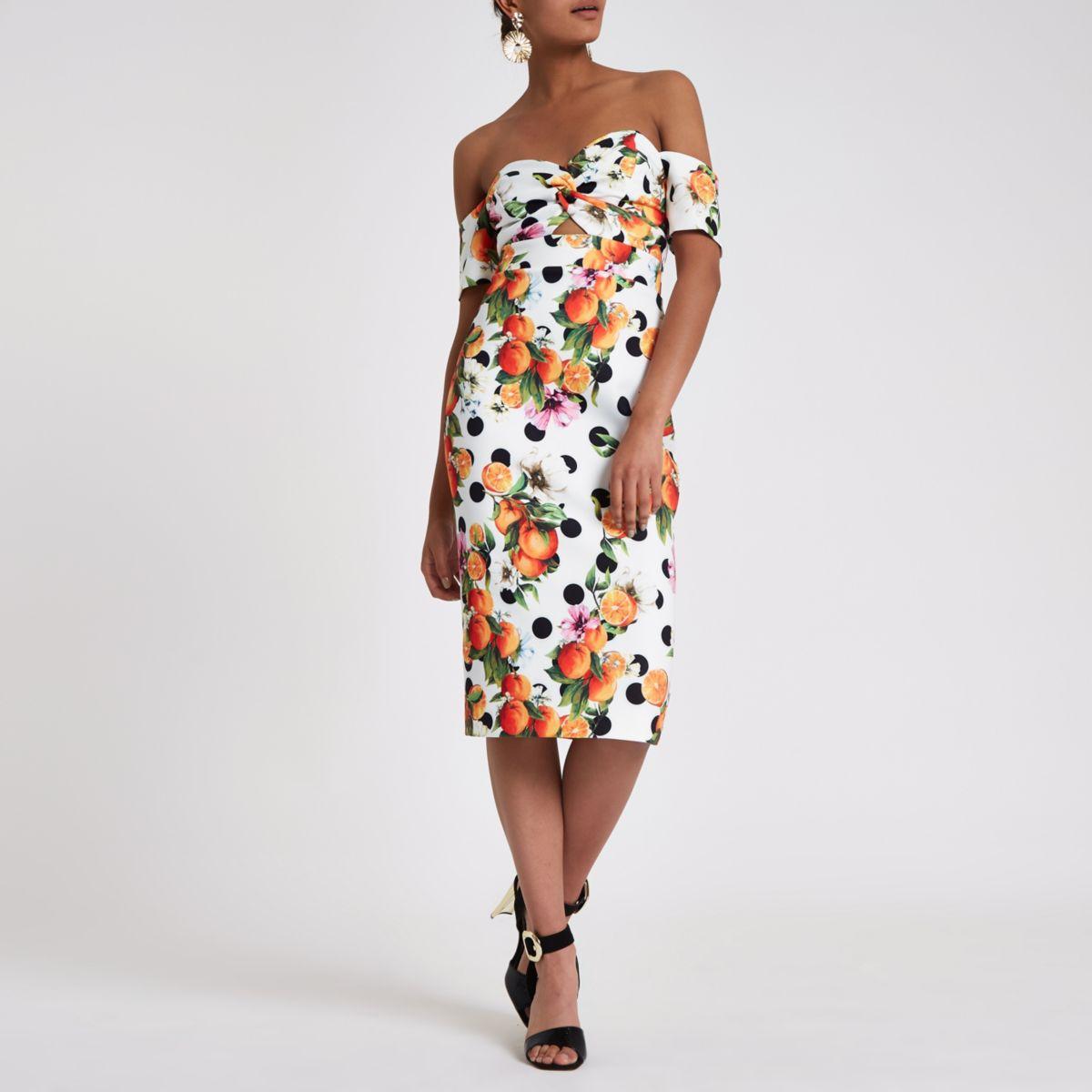 White printed bardot bodycon midi dress