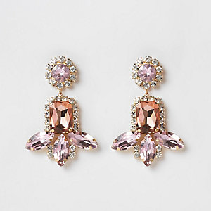 Pink gold tone jewel tiered drop earrings