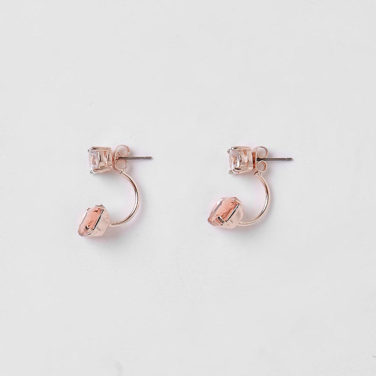 Gold tone peach jewel stone drop earrings