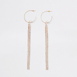 Gold tone hoop rhinestone drop earrings