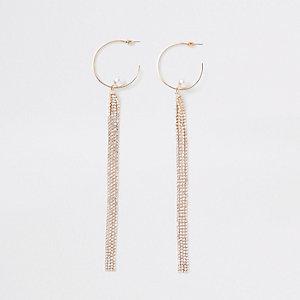 Goudkleurige oorringen met hangers met stras