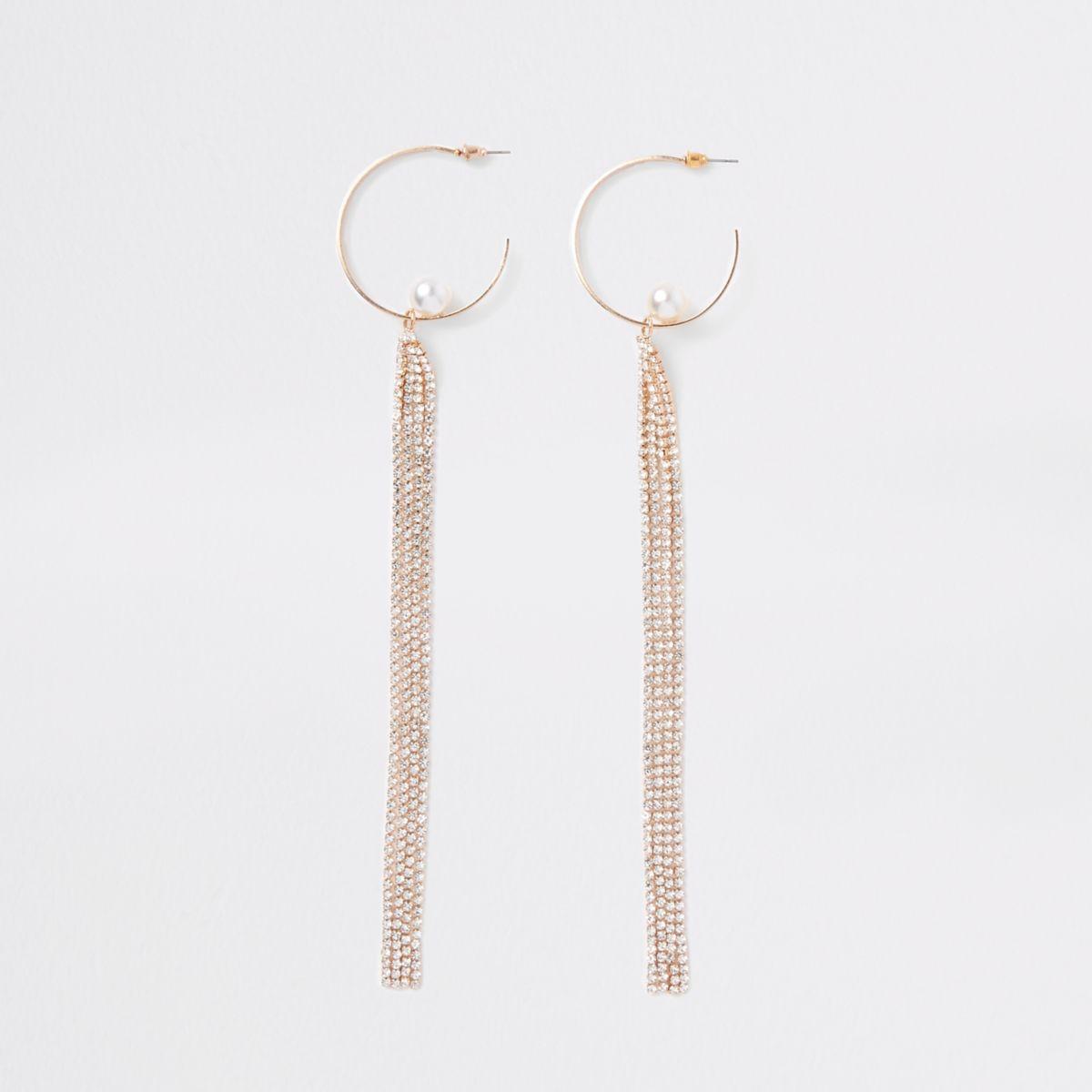 Gold tone hoop rhinestone drop earrings