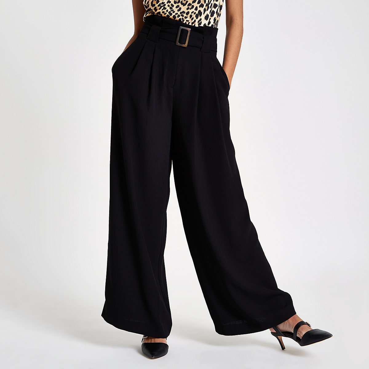 Black paperbag waist wide leg belted trousers