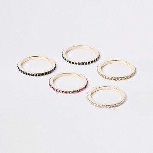 Set goudkleurige verfraaide ringen met diamantjes