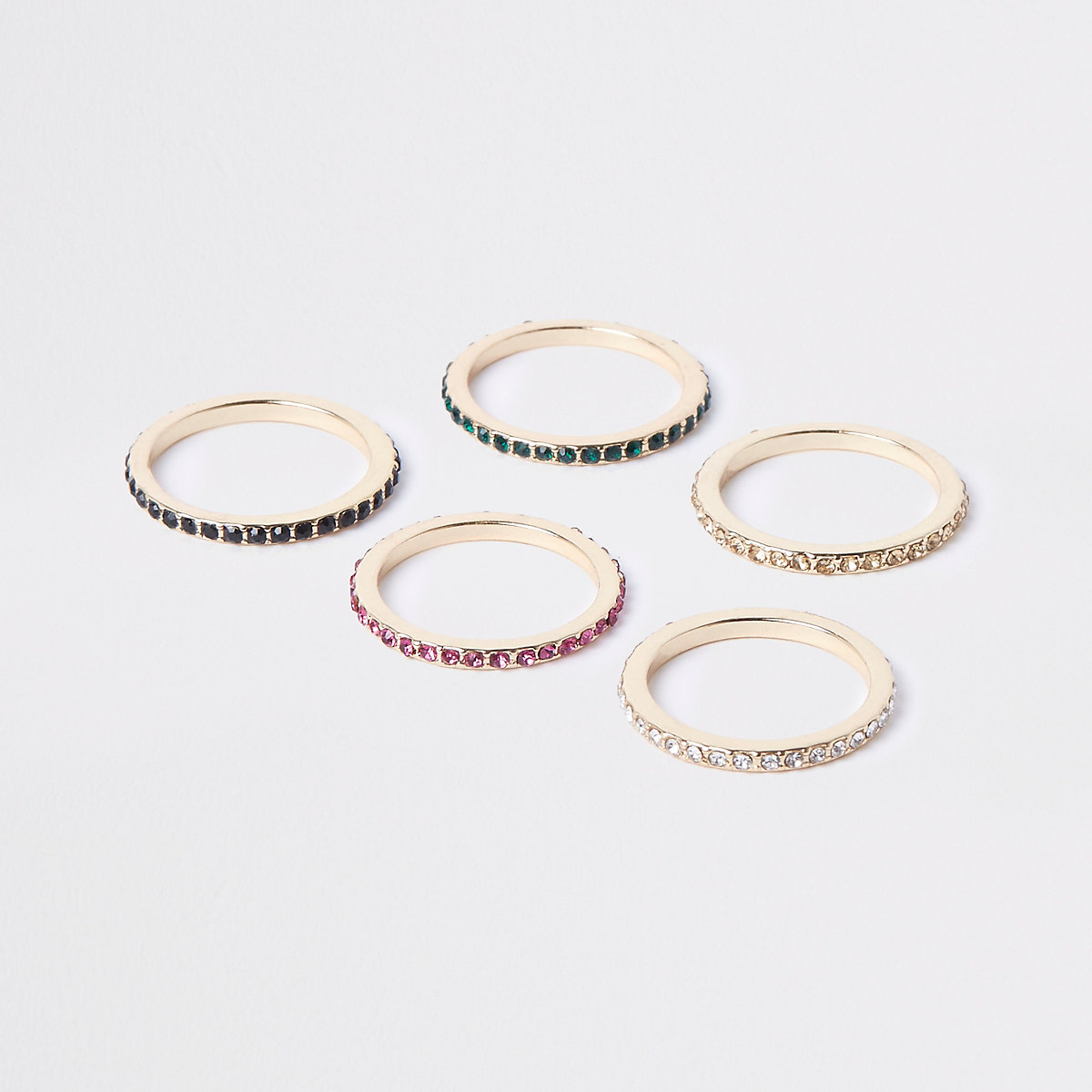 Gold tone rhinestone embellished ring pack