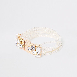 Gold tone pearl jewel magnetic cuff bracelet